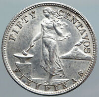 1944 S PHILIPPINES Under US Administration Eagle Silver 50 Centavos Coin i88082