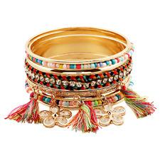 Rhinestone Flower Tassel Pendant Crystal Colorful Wire Weaved Bangle Beacelet