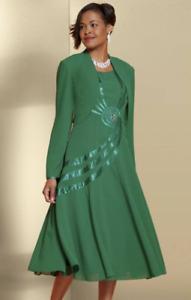 Ashro Green Formal Mother of the Bride Wedding Church Monroe Jacket Dress Sz 6 8