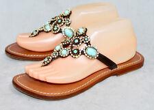 MYSTIQUE Wo's 8 Jeweled Thong Flip Flop Sandal Blue Turquoise & Rhinestones