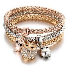 3Pcs/set Women Elastic Crystal Butterfly Owl Elephant Bracelets Bangles Jewelry