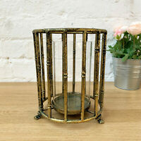 Gold Wire Metal Round Home Wedding Table Pillar Candle Holder Hurricane Lantern