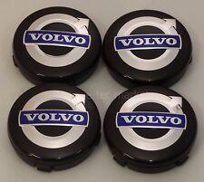 4x Volvo V40-V90, S40, S60, S80, XC60 XC70 XC90 64mm Black Blue Center Caps Cap