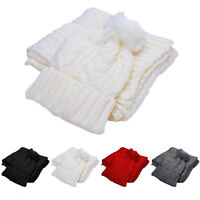 Unisex Womens Ladies Mens Knitted Ski Beanie Cap Warmer Hat Scarf Winter Set
