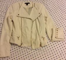 Women's cream forever 21 leatherette jacket size s