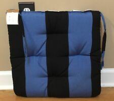 "NEW Pottery Barn Sunbrella Outdoor 19"" Tuft Dining Chair Cushion BLACK BLUE"