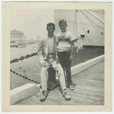 Avalon CA Catalina Island 1950s? 60s? - On the Dock Father & Son