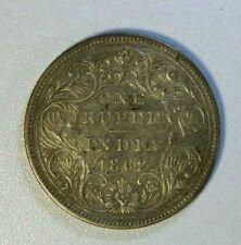 INDIA 1862 QUEEN VICTORIA SILVER RUPEE COIN