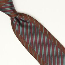 VTG Guy Laroche Paris Silk Necktie Brown Red Blue Inset Stripe Print
