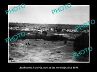 OLD LARGE HISTORICAL PHOTO OF RUSHWORTH VICTORIA, VIEW OF THE TOWNSHIP c1890