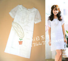 040 Korean Women's Fashion Casual Ribbon Mesh Short Sleeve Party Dress White1