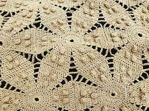 Vintage Hand Crocheted Bed Cover Bedspread Queen - King Size Neutral Beige...