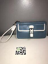 Vintage Coach Blue Leather White Trim Wristlet Silver Tone Hardware