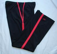 Reebok Unlined Women's Track Pants Black Red Stripe US S UK 10 Yoga Running