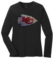 Women's Kansas City Chiefs Ladies Bling Long Sleeve Shirt T-Shirt (Size S-4XL)