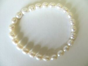 Honora Cultured White Color Pearls Stretch Bracelet  6.40 MM