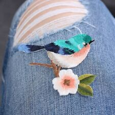 1Pc Sew Embroidery Birds Flower Iron On Patch Badge Applique Patches With Glue