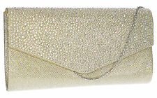 SwankySwans Womens Montary Glitter Diamante Envelope Clutch Bag