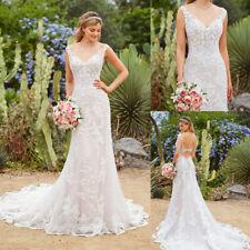 Wedding Dresses Sleeveless V Neck Bridal Gowns Bride Mermaid Sheath Column Bride