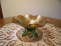 NORTHWOOD STIPPLED RAY FOOTED GREEN CARNIVAL GLASS BOWL