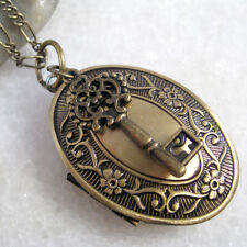 Brass Photo Locket Pendant Handmade Key Charm Statement Necklace