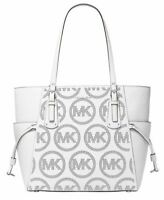 NWT💋MICHAEL KORS VOYAGER Leather Signature Tote w Logo In Print Optic WHITE