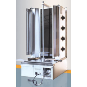 Easy-cut 4 gas burner kebab machine with built in electric knife