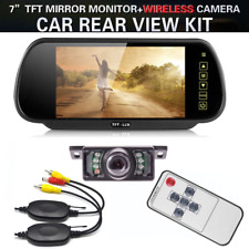 "Wireless Car Rear View 7"" LCD Screen Mirror Monitor LED Reversing Backup Camera"