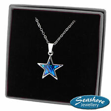 Star Necklace Blue Paua Abalone Shell Pendant Womens Silver Jewellery Gift Boxed