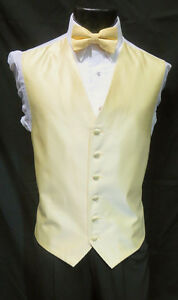 X Large Mens Armanno Canary Yellow Tuxedo Fullback Vest & Tie Wedding Prom
