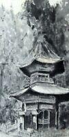 JAPANESE PAINTING VINTAGE Hanging Scroll Ink Temple JAPAN ART OLD 489h