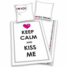 KEEP CALM & KISS ME 'I LOVE YOU' SINGLE DUVET COVER SET GIRLS 100% COTTON