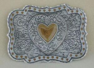 Belt buckle Western Gold Heart Center Pewter Rectangle