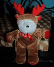"White Teddy Bear in Reindeer Costume Stuffed Plush G.A.C. Rare CUTE 10"" 1999"