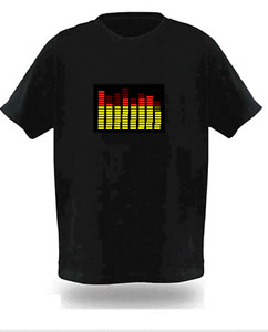 Sound Activated Electronic Light Up Rave Graphic Equalizer T Shirt Various New