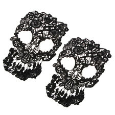 2x Black Skull Lace Trim Bridal Embroidery Motif Wedding Gown Applique Patch