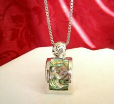 "Abalone Inlay Pendant Necklace 20"" Long Vintage 925 Sterling Silver Ati Mexico"