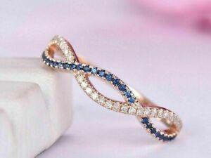 14K Rose Gold Finish 1CT Round Cut Sapphire & Diamond Infinity Wedding Band Ring