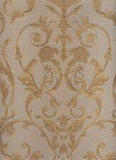 Elegante carta da parato in vinile gommoso con disegno classico di colore ocra c