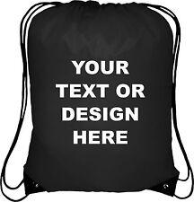 Personalised Black Drawstring Bag Sack Gym PE Swim Gym  School Print Waterproof