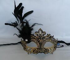 Masquerade Face Mask Black & Gold With Feathers - NEW Express Post Avaliable