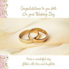 """On Your Wedding Day Tarjeta """"Dos DORADOS Anillos Boda Diseño """"tamaño 22.9cm x"""