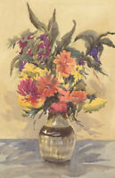 E.L. Grassby - Double-sided 1969 Watercolour, Vase of Flowers