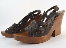 Michael Kors MK Wooden Wedge Heels Shoes Leather Strappy Sandals 10
