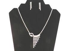 Silver Plated Rhinestone Bridal Geometric Adjustable Necklace & Earrings Set