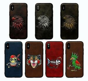 3D Relif Pattern Leather Embossed Shockproof Hard Case Cover For iPhone 6/7/8/X