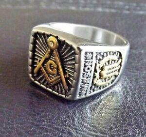 Stainless Steel Masonic CZ Ring - 2 Tone Freemason Mason Ring