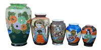 5 Japanese Satsuma Ware Mini Moriage Miniature Bud Vases God Goddesses Figures