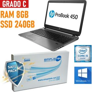 "Notebook HP Probook 450 G2 I5 4200U 15,6 "" 8GB SSD 240GB Windows 10 Pro"