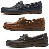 Sebago Schooner FGL Waxed Leather Boat Deck Shoes in Brown & Navy Blue